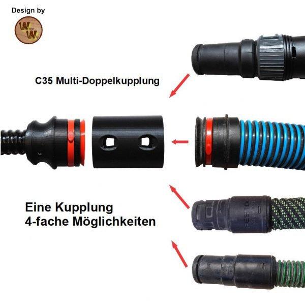C28 Absaug-System Absaugschlauch Basis-Set für Bosch 28mm Rillenstutzen