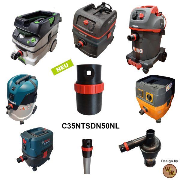 C35 Absaug-Adapter für Nass-Trockensauger und DN50 HT-Rohr C35NTSDN50NL Übersicht