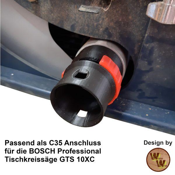C35 Absaug-Adapter für Bosch GTS10XC und DN50 HT-Rohr C35NTSDN50NL