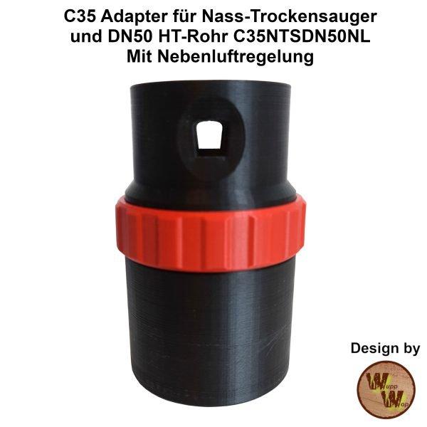 C35 Absaug-Adapter für Nass-Trockensauger und DN50 HT-Rohr C35NTSDN50NL